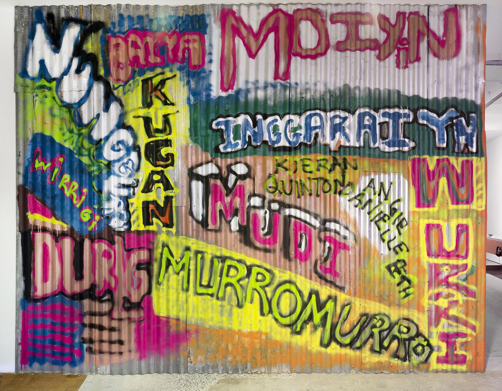 Karrabing Film Collective_Graffitti Dreaming_2018_Corrugated iron spray paint_Photo_Carl Warner_1