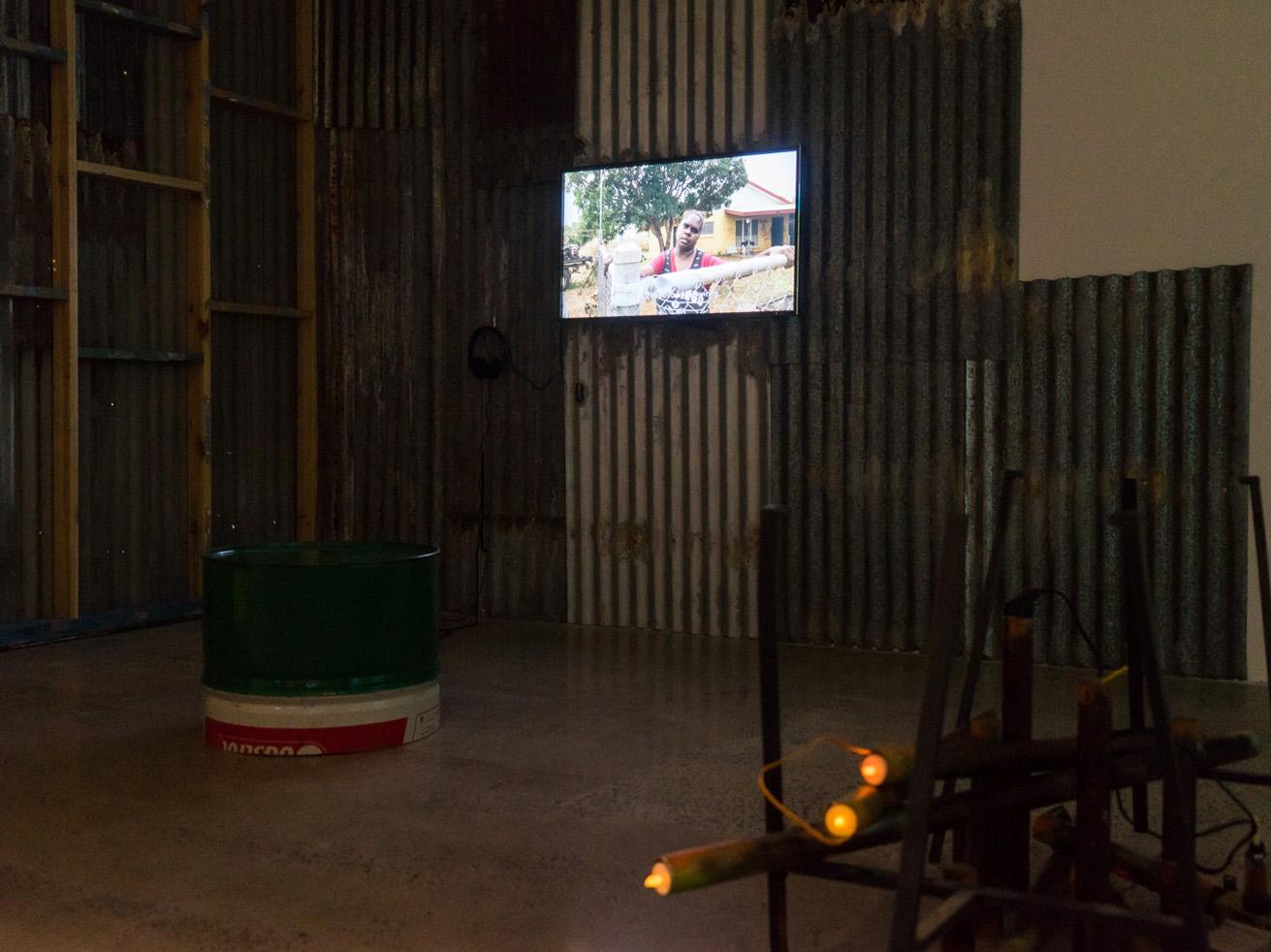 Karrabing Film Collective_Installation view IMA Brisbane_Wutharr Saltwater Dreams_Campfire_Photo_Louis Lim